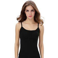 Black Womens Ladies Stretchy Sleeveless Strappy Cami Spaghetti Strap Vest Top