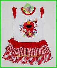 BNWT Sesame Street Elmo fashion cartoon girls ruffle kids dress new