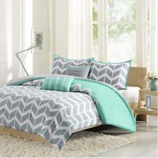 Grey Teal & White Chevron Reversible Comforter Set AND Decorative Pillows