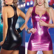 Women Sleeveless Wet Look PU Mini Dress Crew Neck Zip Club Party Bodycon Dresses