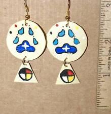 Rawhide Shield Earrings+Native American+Wolf Paw Claw