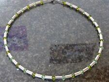 Edelstahl Halsketten Collier Damen Silber grün Swarovski Steine Peridot bicolor