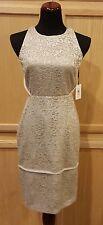 Calvin Klein Beige/Silver Metallic Lace Halter Cocktail Dress CD5L2J2Y - $178