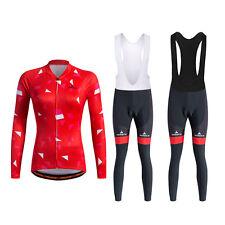Winter Womens Cycling Long Set Reflective Cycling Tops & Spandex Bib Tights Kit