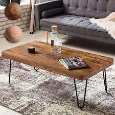 Massiver Couchtisch Holz Massiv 115cm Design Wohnzimmertisch Metallbeine Tisch