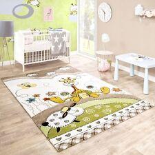 Nursery Rug White Green Beige Animal Kids Carpet Neutral Play Mat Small Large
