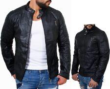 Young & Rich Herren Kunstlederjacke schwarz Slim fit Biker Look Übergang Männer