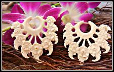 Carved Horn Earrings Bone Tribal Organic Handmade Fake Gauge Posts Dangle inlay