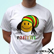 Positive rasta smile - white t shirt top reggae - mens womens kids baby sizes