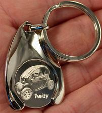 Renault Twizy EKW Schlüsselanhänger Gravur Keyring Einkaufswagenchip Chip Clip