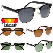 Polarized Half Frame Vintage Metal Sunglasses Retro Green Lens Black Chrome
