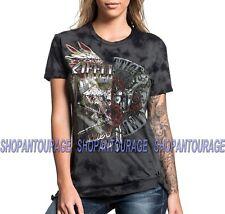 AFFLICTION Roadie Split AW17962 Women`s New Short Sleeve Graphite Top