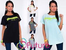 Unique Women's Top ALWAYS HAPPY Print Boat Neck T-Shirt Size 8-12 FT967