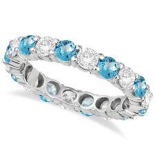 3.50CT Blue Topaz & Diamond Eternity Ring 14K White Gold