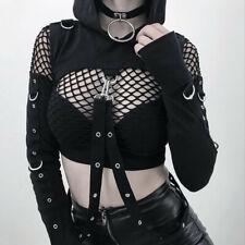 New Women Hole Gothic Street Punk Hooded Long Sleeve Top Short Blouse Sweatshirt