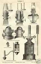 LAMPEN  Petroleumlampe Kosmosbrenner HOLZSTICH um 1905 Ligroinlampe Benzinkerze