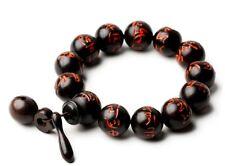 Peach Wood Beads Bracelet Buddha Hand Carved Gift