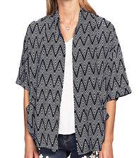 Ladies UK Plus Size 8 - 26 Navy White Striped Zig Zag Kimono Cardigan Pockets