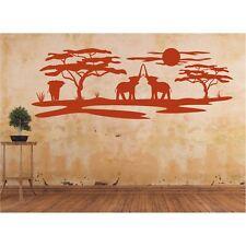 Landschaft Wandtattoo  Elefanten Afrika Affenbrotbaum Savanne Wandaufkleber