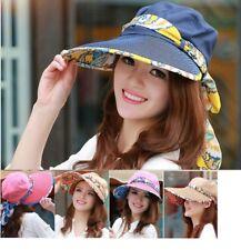 New Women Lady Cotton UV Sun Protection Wide Brim Packable Visor Cap Hat