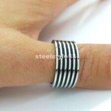 Bague Acier Inoxydable Inox 316L noir et argent rayures HOMMES/femmes motif