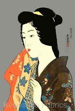Japanese Butterfly Kimono Lady Fabric Quilt Block Multi Sizes