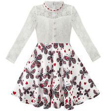 US STOCK! Girls Dress Lace Pearl Plum Blossom Elegant Princess Dress Size 7-14