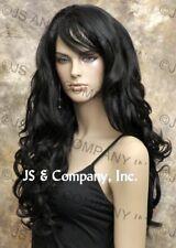 STRIKING Full Wig Long Wavy Curly layered Black Luscious with bangs win 1B NWT