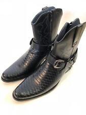 Men's Cowboy Boots Western Snake Skin Print Zippper Buckle Harness Shoes,