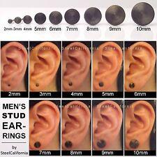Black stud earrings for men, black gold plated post earrings, sterling silver