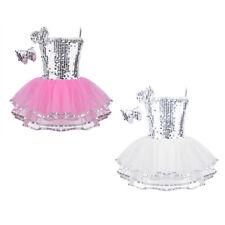 Toddler Girls Jazz Dance Dress Kids Ballet Performance Sequins Dancewear Costume