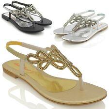 Womens Flat Sandals Diamante Toe Post Ladies Slingback Dress Holiday Shoes 3-9