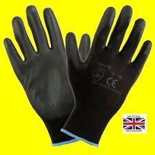 1,12 or 24 Pairs  Black Nylon PU Safety Work Gloves Builders Grip Gardening
