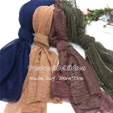 NEW Gold Silk Nylon Scarf/Scarves/Wraps Women/Lady Muslim Hijab Shawls Headwear