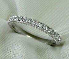 Natural Diamond Wedding Band Ring 0.21Ct Round Cut 14K White Gold Milgrain