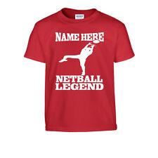 Personalizado netball LEGEND Camiseta Niños Añadir Nombre ELIGE Regalo Gran Idea