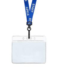 BLU STAFFA ID CORDICELLA COLLANA PLASTICA MOLLETTA ORIZZONTALE badge porta carta