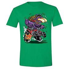 Purple Monster T-shirt Cartoon Hot Rod Muscle Car Flames Biker Motorcycle Tee