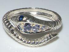 Fabulous Solid 14K White Gold Natural Tanzanite & Sapphire Detailed Snake Ring