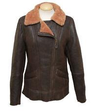 Ladies Mepal Leather Sheepskin Flying Jacket - Caramel