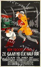 Vintage Dutch Railways Punctuality Poster A3/A4 Print