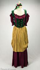 Renaissance Peasant Lady 4 Piece Burgundy Tan & Green Wench Costume Dress