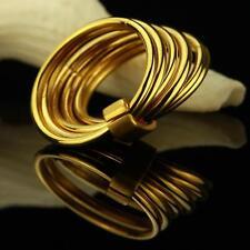 Anillo De Dama Acero Inoxidable 999 bañado en oro 24 Quilates Oro Amarillo r2767