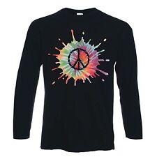 CND Psicodélico Manga Larga Símbolo de Paz Camiseta-nuclear Hippy-Elección del Color