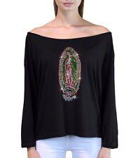 Juniors Rhinestone Virgin Mary L/S Off Shoulder T Shirt Guadalupe Maria Catholic