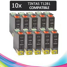 PACK 10 TINTAS T1281 1281 COMPATIBLE IMPRESORAS NONOEM EPSON CARTUCHO NEGRO