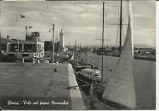 rimini vele sul fiume marecchia si vede bel motoscafo e faro 1952 spedita