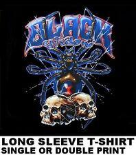 BLACK WIDOW SPIDER WEB SKULL GOTHIC EVIL WIDOWMAKER LONG SLEEVE T-SHIRT WS616