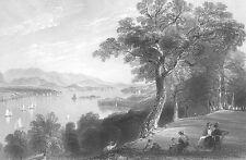 Hudson River Sail Boat HYDE PARK POUGHKEEPSIE 1838 Landscape Art Print Engraving