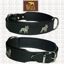 WOZA Premium Hundehalsband Französische Bulldogge Lederhalsband Vollleder OC2026